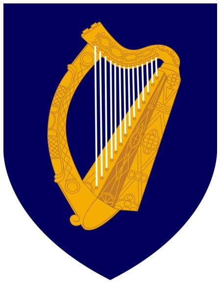 Escudo de Irlanda. Blasón: Azur y arpa dorada con cuerdas de plata. (Public Domain)