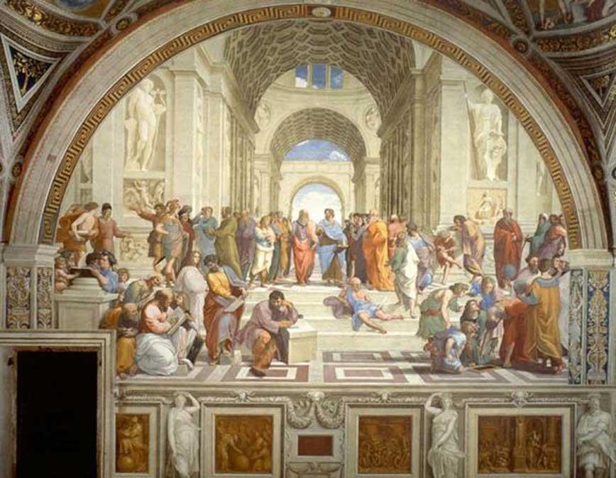 Academia de Platón: La escuela de Atenas de Rafael (1509 – 1510), fresco en el Palacio Apostólico, Ciudad del Vaticano. (Dominio público)