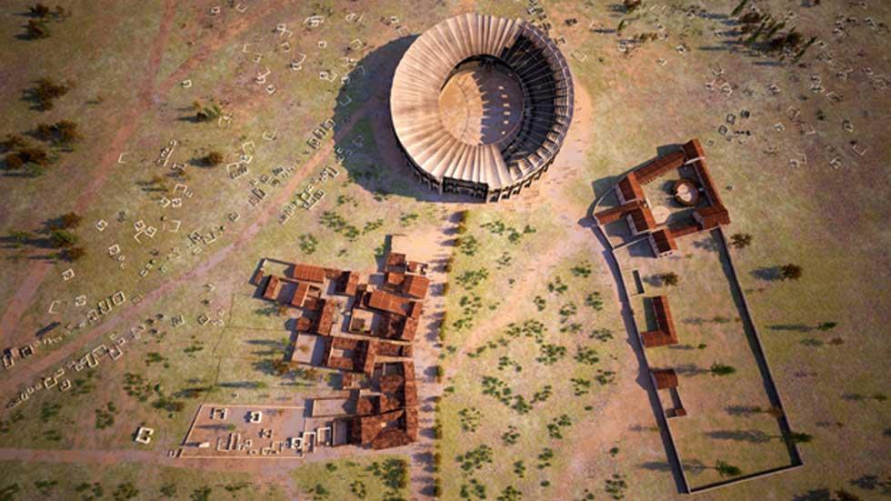 Reconstrucción de Carnuntum. Escuela de gladiadores y tiendas. (LBI ArchPro/7reasons)