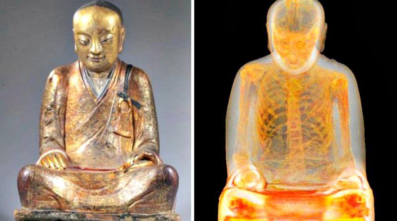 Momia hallada en el interior de una estatua de Buda. Museo Drents de Assen (Holanda) (Fotografía: M. Elsevier Stokmans/Historia Enigmática)