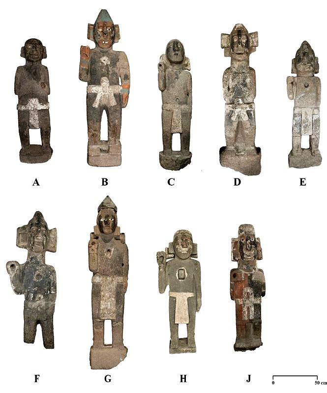 Las nueve esculturas encontradas por la arqueóloga Elsa Hernández Pons hace 39 años. (Fotografía: Mirsa Islas. Proyecto Templo Mayor INAH)
