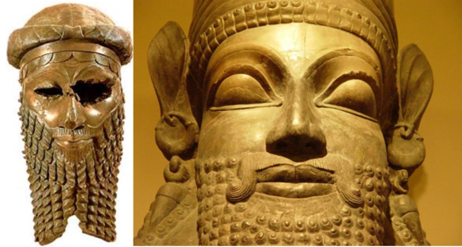 A la izquierda, cabeza que representa muy probablemente a Sargón de Acad. (CC BY 2.0). Derecha, el rey Sargón II. (CC BY-NC-ND 2.0)