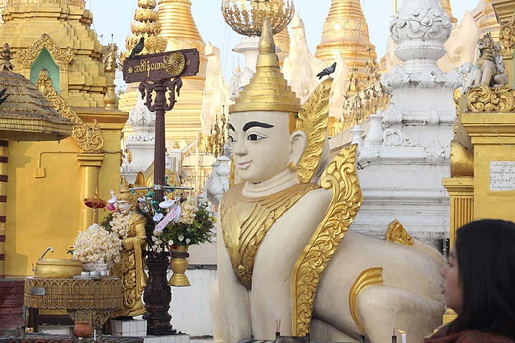 Esfinge de Myanmar en la pagoda Shwedagon. (CC BY-SA 3.0)