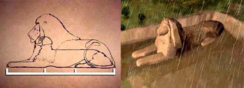 La esfinge como colosal estatua de un león (Fotocomposición: Historia Enigmática)