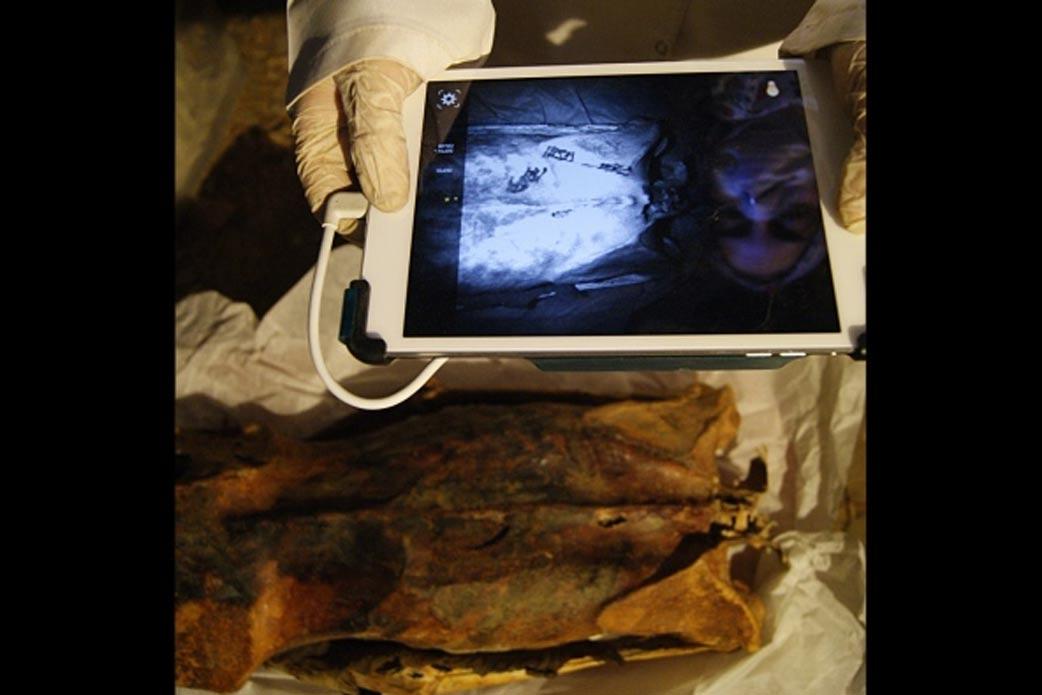 La antropóloga Ghada Darwish Al-Khafif tomando imágenes de infrarrojos para examinar los tatuajes presentes en la espalda de la momia (Anne Austin)