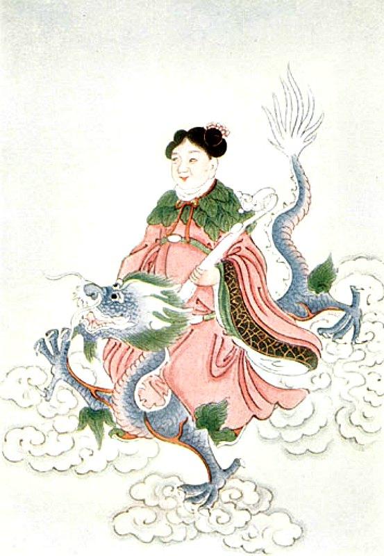 Ilustración de un espíritu chino benéfico a lomos de un loong. Werner, E. T. C. (1922) Mitos y leyendas de China. (Public Domain)