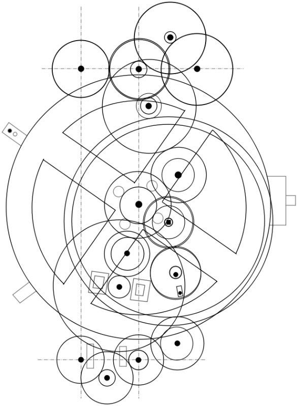 Esquema del mecanismo de engranajes del artefacto. (Public Domain)