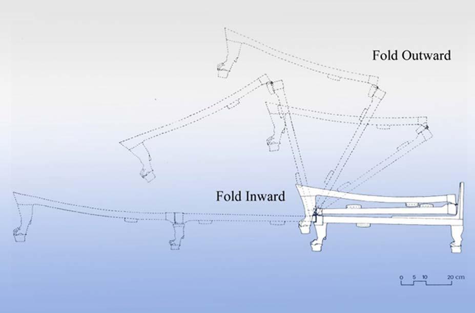 La curiosa cama de Tutankamón se puede plegar y extender gracias a un ingenioso mecanismo (Esquema: Naoko Nishimoto)