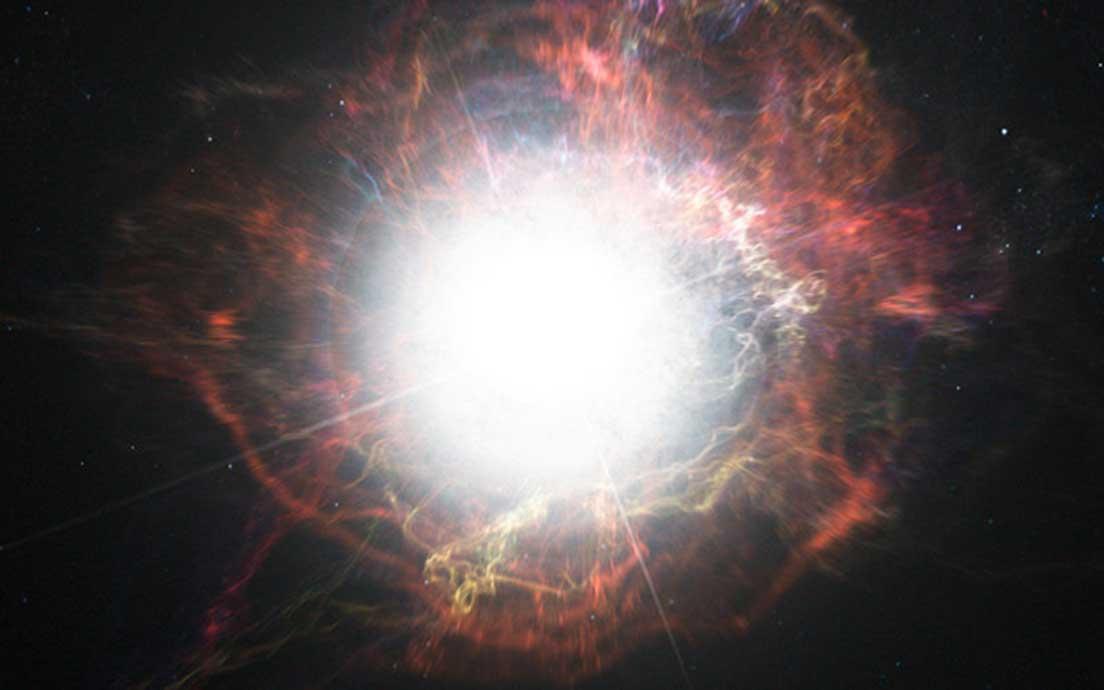 Esta impresión artística nos muestra el polvo que se forma en el ambiente alrededor de la explosión de una supernova. (CC BY 4.0)