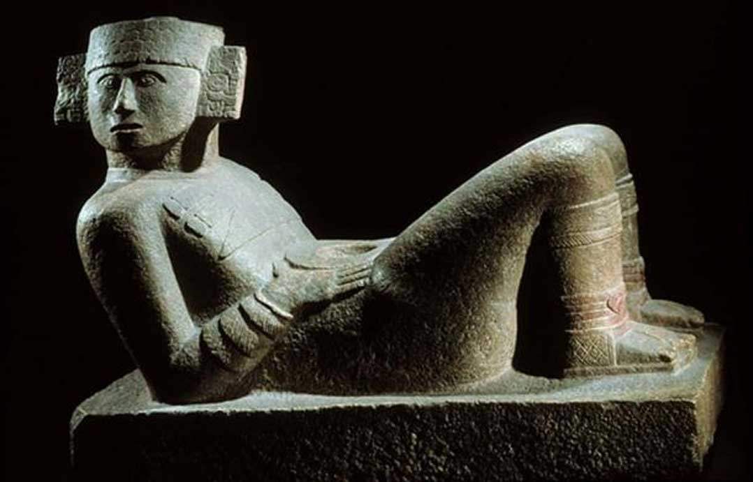 Estatua de Chac-mool expuesta en el Museo Nacional de Antropología de Ciudad de México.