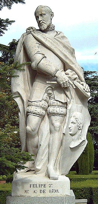 Miguel de Cervantes Saavedra trabajó algunos años como comisario real de Felipe II (1527–1598). En la imagen, estatua del rey esculpida en piedra blanca por Felipe de Castro entre los años 1750 y 1753. Jardines de Sabatini de Madrid, España. (Luis García/CC BY-SA 2.0)