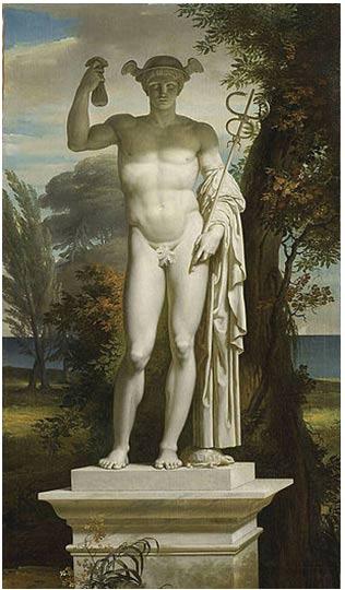 Estatua de Mercurio de Charles Meynier. Lleva puesto el casco alado, porta el caduceo en una mano y un monedero en la otra.
