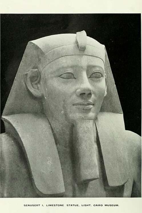 Primer plano de una estatua del faraón Sesostris I. Piedra caliza, descubierta en el-Lisht, Dinastía XII, Imperio Medio, ahora en el Museo de El Cairo. (Dominio público)