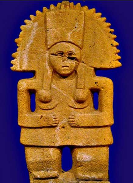 Estatua de Tlazoltéotl perteneciente a la cultura huasteca expuesta en el Museo de Antropología de Xalapa, México. (yaxchibonam/CC BY NC SA 2.0)