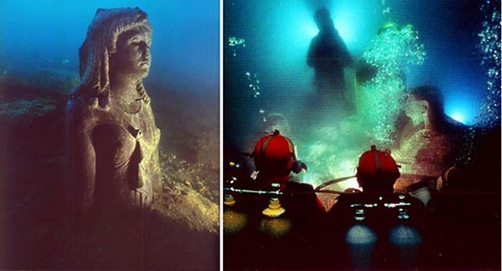 Antiguas estatuas egipcias descubiertas bajo las olas del Puerto Oriental de Alejandría. (Crédito: The Hilti Foundation)