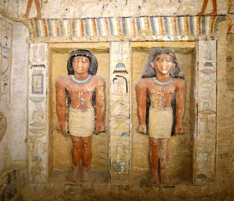 Las estatuas se encuentran en un estado de conservación realmente notable. (Ministerio de Antigüedades egipcio)