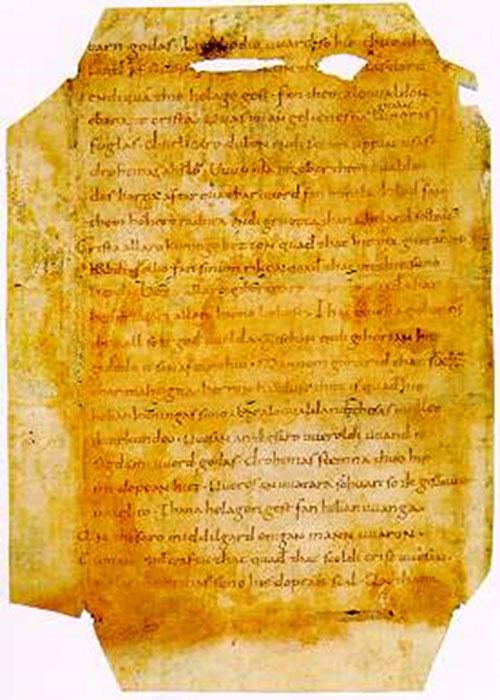 Este es un extracto del Fragmento Poema de Heliand del Museo Histórico Alemán. (Marielecourtois / Dominio Público)