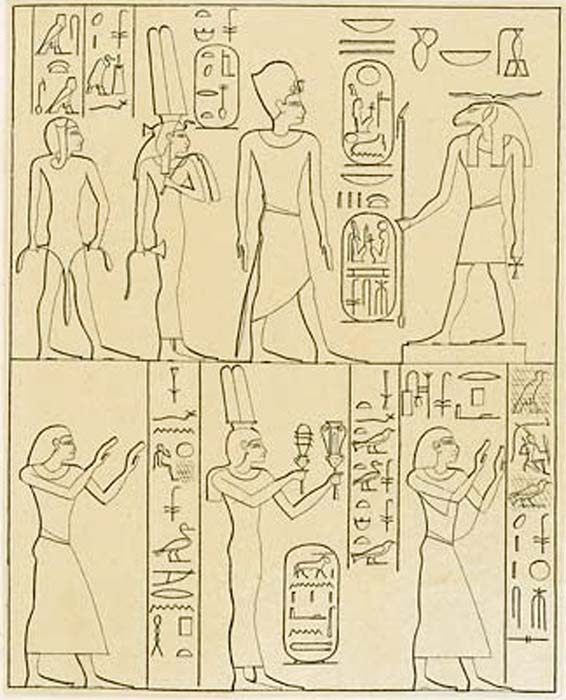 La familia de Ramsés II (parte de ella) en la Estela de Asuán. Arriba: el faraón, Isetnofret y el príncipe Khaemwaset ante Khnum. Abajo: a izquierda y derecha, príncipes Ramsés y Merneptah, en el centro, Reina Princesa Bint-Anath. (Public Domain)