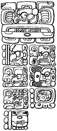 Cara este de la estela C de Quiriguá con la fecha mítica de la creación definida por 13 baktún, 0 katún, 0 tun, 0 uinal, 0 kin, 4 Ahau, 8 Cumku, correspondiente al 11 de agosto del 3114 a. C. en el calendario gregoriano proléptico. (Public Domain)