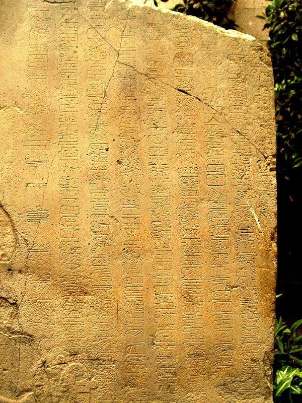 Detalle de la estela de La Mojarra. La estela de La Mojarra es un monolito de basalto de 1,98 m y cuatro toneladas de peso descubierto en 1986. Originalmente se habrían escrito 465 glifos en su cara frontal. El texto se refiere a un rey guerrero, y describe los sucesos que lo llevaron al trono tras años de guerra y actividades rituales. Entre sus glifos se encuentran dos fechas en cifras del calendario de Cuenta Larga, correspondientes a mayo del año 143 d. C. y a julio del 156 d. C. Museo de Antropología de Xalapa, Veracruz, México. (Public Domain)