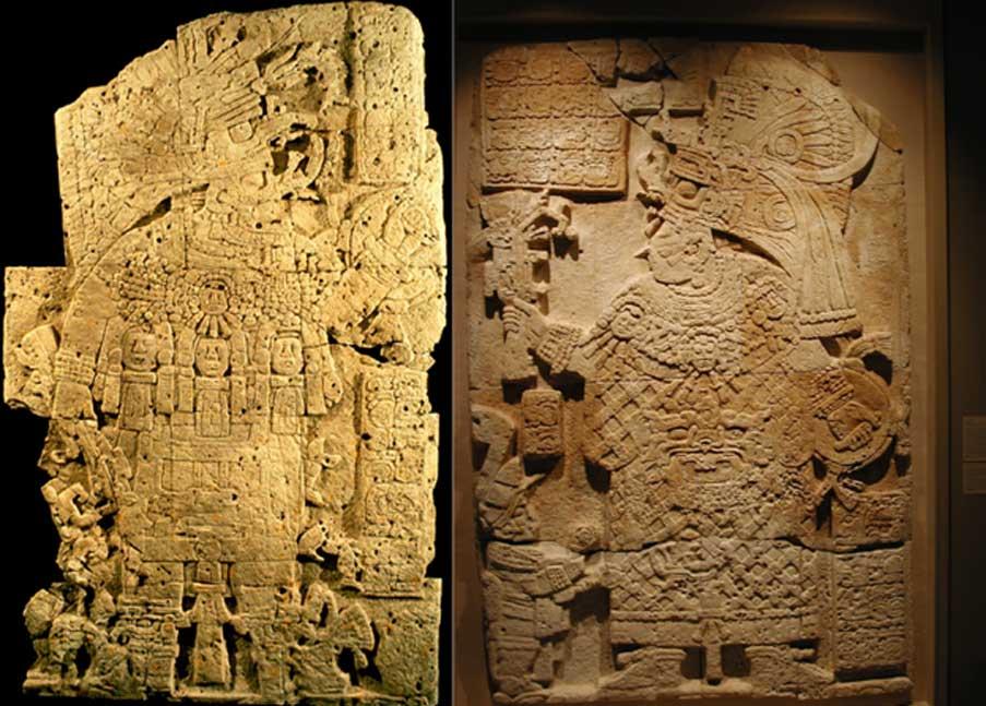 Estelas 33 (izquierda) y 34 (derecha) de El Perú, mostrando respectivamente al rey K'inich Bahlam II y a la Señora K'abel. (Proyecto Arqueológico El Perú-Waka')