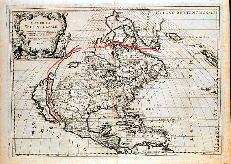 Mapa de Guillaume Sanson con la supuesta ruta del estrecho de Anián hacia el Paso del Noroeste. (1687) (Public Domain)
