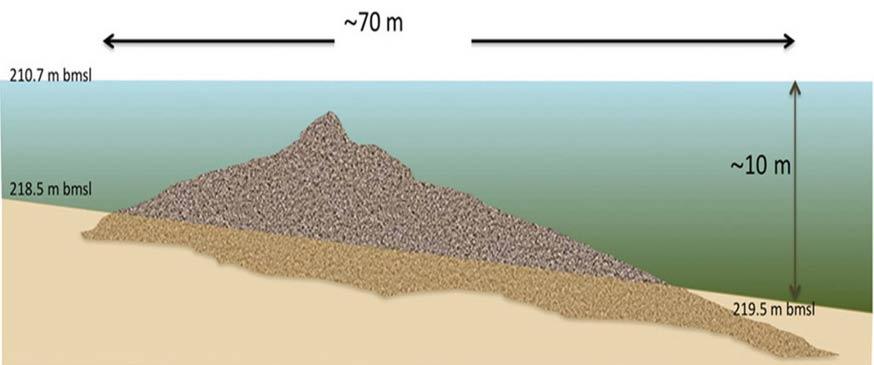 Diagrama de la estructura en forma de cono descubierta bajo la superficie del mar de Galilea. Cortesía de Shmuel Marco