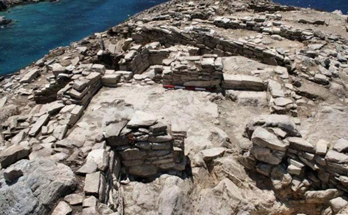 Antiguas construcciones de la isla de Keros. (Imagen: Universidad de Cambridge)