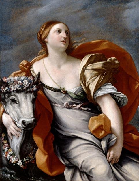 """""""Europa y el Toro,"""" obra del taller de Guido Reni. El toro era Zeus. Algunas versiones del mito cuentan que la violó, otras dicen que ella se apoderó del toro y a continuación lo sacrificó. Su hijo fue Minos, rey de Creta. Algunos mitógrafos afirman que Minos significa """"hombre de la luna"""" y que todos los reyes minoicos recibían este nombre (o título) en torno al 2000 a. C. (Wikimedia Commons)"""