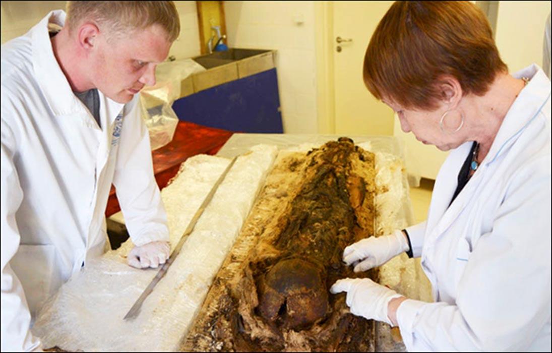 Los restos del niño al parecer se conservaron accidentalmente gracias a la forma de su enterramiento, una matriz de corteza de abedul y cobre. Fotografías: Alexander Gusev