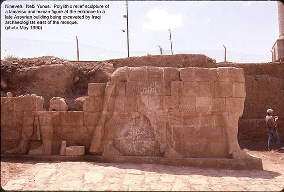 Nínive, excavaciones de Nebi Yunus, mayo de 1990. Escultura polilítica en relieve de un lamassu y una figura humana a la entrada de un edificio asirio tardío excavado por arqueólogos iraquíes al este de la mezquita. (CC BY-SA 3.0)