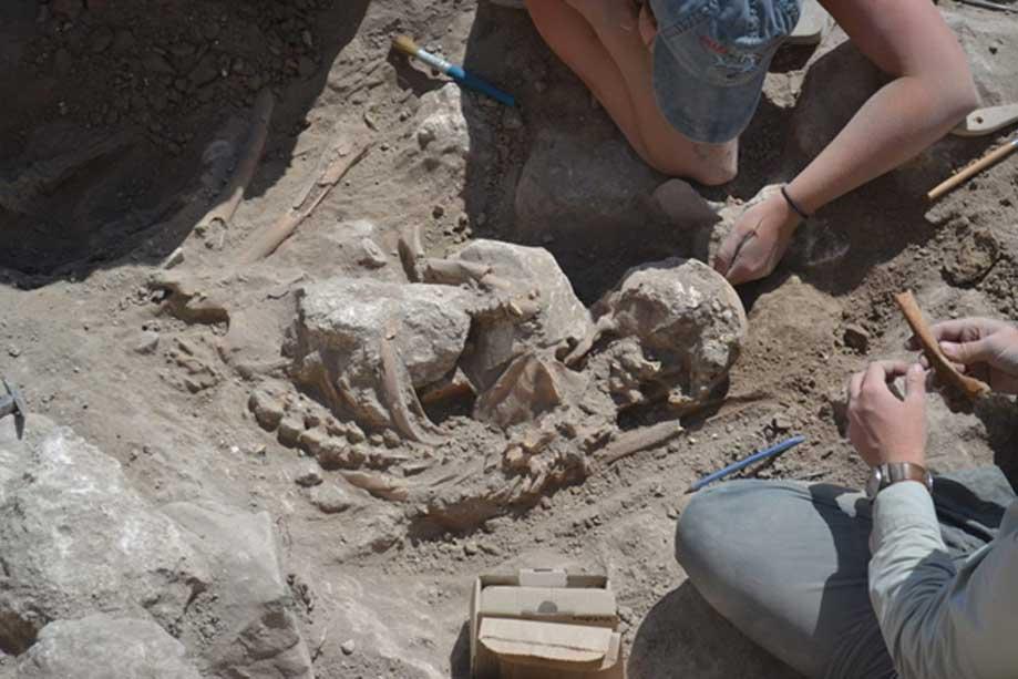 Cuidadosas labores de excavación de los restos de un adulto hallados en Guézer (Fotografía: Instituto Tandy para la Arqueología)