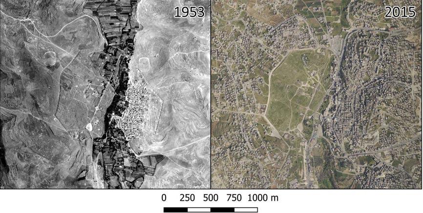 La expansión urbana en el interior y los alrededores de Jerash ha sido espectacular. Desde 1953 se ha urbanizado gran parte del área en torno a la ciudad. Dentro de las murallas, la mitad oriental de la ciudad está afectada casi en su totalidad por una construcción excesiva. (Imagen: David Stott et al. / PNAS)