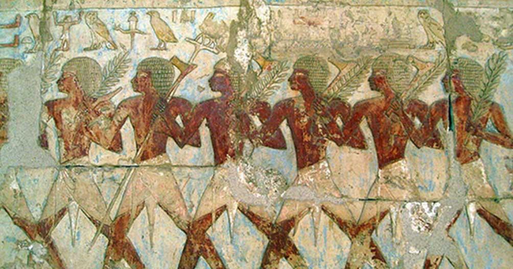 Miembros de la expedición comercial de Hatshepsut al misterioso 'país de Punt,' pintura del elegante templo funerario de esta reina construido en Deir El-Bahari. (CC BY 2.0)