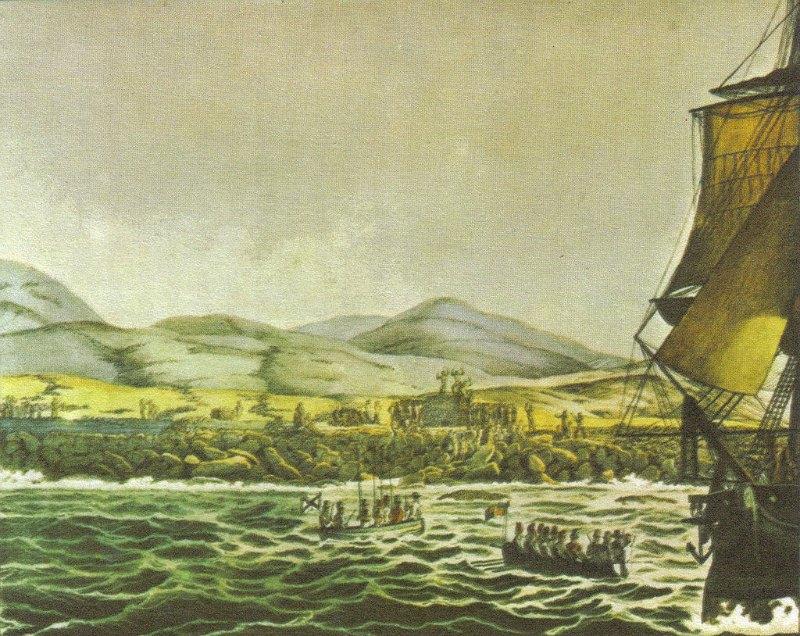 Diversas expediciones llegaron hasta la isla de Pascua a lo largo de la historia. En la imagen, el barco ruso Rurik es recibido por los pocos habitantes supervivientes. Pintura obra del artista Louis Choris en 1816. (Public Domain)