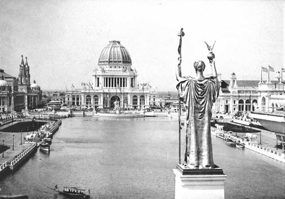 Panorámica desde el Peristilo, Corte de Honor y Gran Estanque de la Exposición Colombina Mundial de 1893 celebrada en Chicago. (Dominio público)