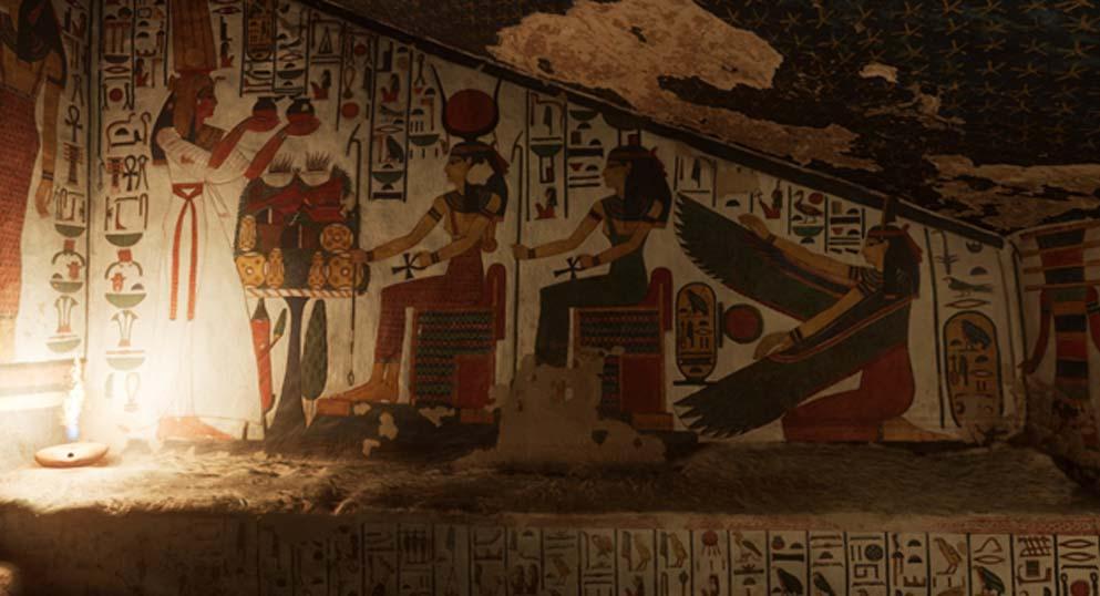 El exquisito interior de la tumba de Nefertari ha sido restaurado. (Imagen: CuriosityStream)