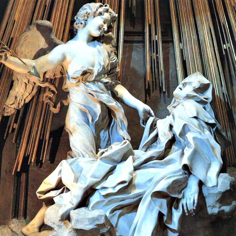 Detalle del grupo escultórico del Éxtasis de Santa Teresa (1647-1651), obra en mármol del escultor y pintor Gian Lorenzo Bernini, de estilo barroco. Iglesia de Santa María de la Victoria de Roma, Italia. (Napoleón Vier/Public Domain)