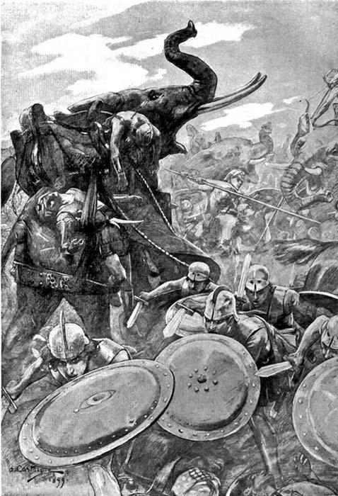 La falange ataca el centro enemigo en la batalla del río Hidaspes, ilustración de André Castaigne (1898–1899). (Public Domain)