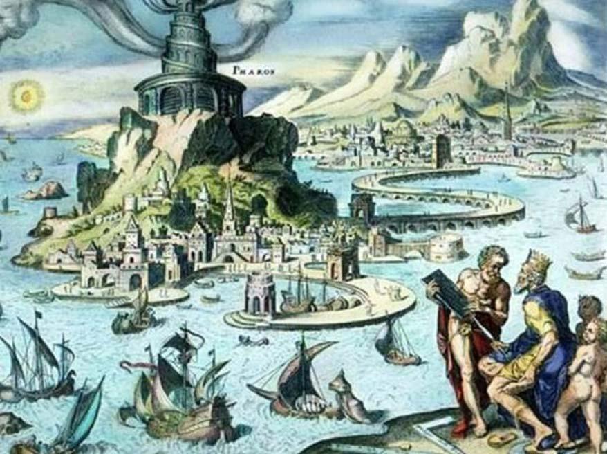 Faro de Alejandría: representación idealizada de la bahía de Alejandría. (Dominio público)