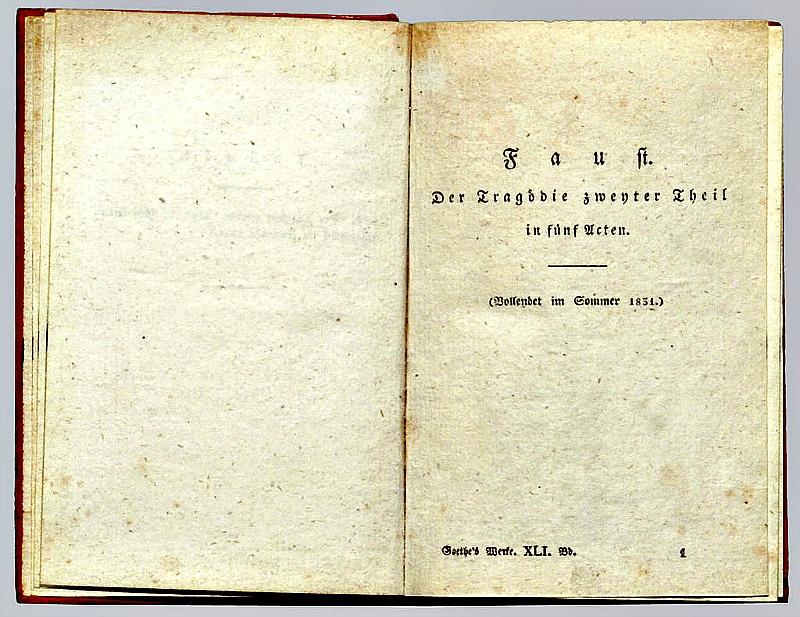 Ejemplar del Fausto de Goethe, edición de 1831. (Foto © H.-P. Haack)