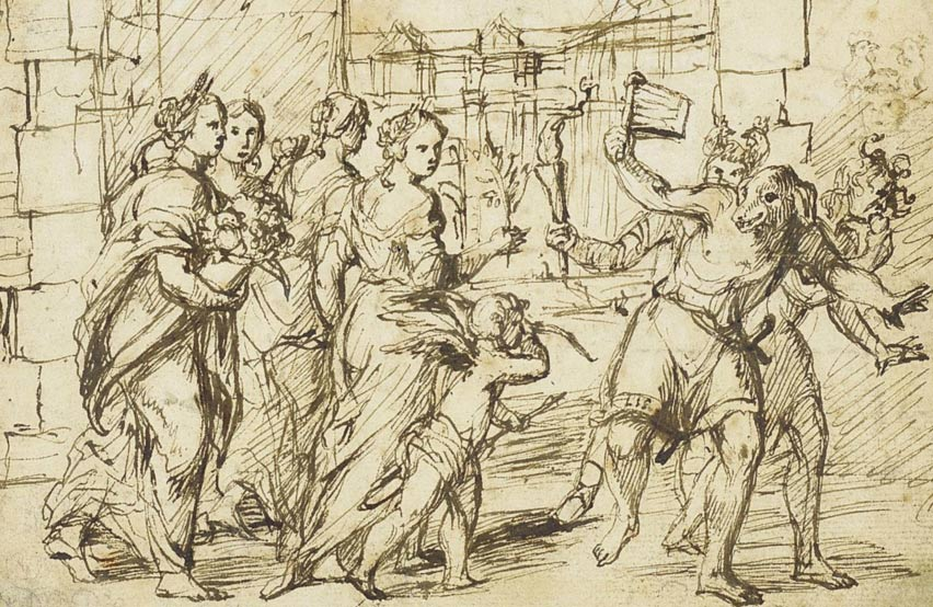 Las Lupercalia en Roma, dibujo de Adam Elsheimer (Wikimedia Commons)