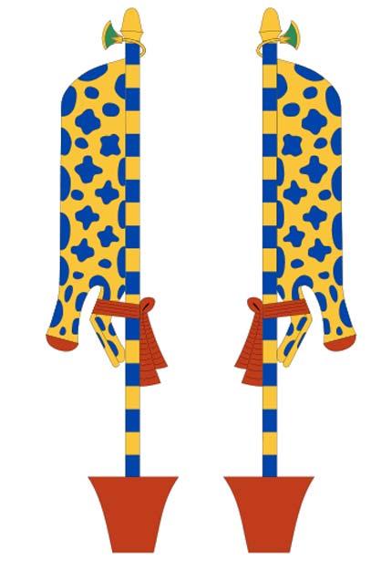 El fetiche Imiut es un símbolo enigmático de la religión del antiguo Egipto asociado a Osiris. Simboliza la piel de un animal decapitado atada a un poste inserto en un recipiente. A menudo aparecen representados de dos en dos. (Jeff Dahl/CC BY SA 4.0)