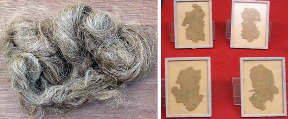 Izquierda: Fibra de cáñamo procedente de la planta Cannabis Sativa (Wikimedia Commons). Derecha: Papel chino de fibra de cáñamo, usado para envolver,no para escribir, descubierto en tumba Han de Wu Di (140-87 d. C.) en Xi'An (Wikimedia Commons)