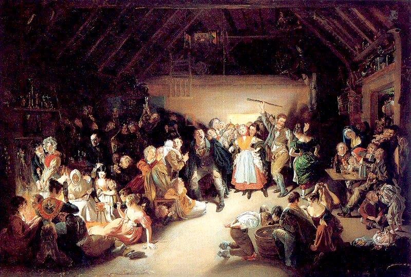 Los emigrantes irlandeses popularizaron la celebración de Halloween en los Estados Unidos. Óleo de Daniel Maclise (1833), basado en una fiesta de Halloween a la que asistió en Blarney, Irlanda, en 1832. (Public Domain)
