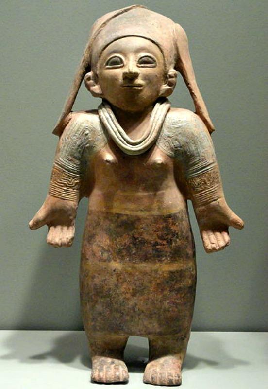 Figura femenina de cerámica (400 a. C. – 500 d. C.) correspondiente a la cultura Jama-Coaque. Museo Gardiner de Toronto, Canadá. (Public Domain)
