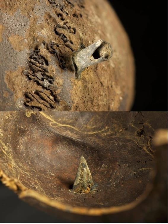 Cráneo hallado en el campo de batalla con una punta de flecha de bronce profundamente incrustada donde se encontraría el cerebro. (Old European Culture)