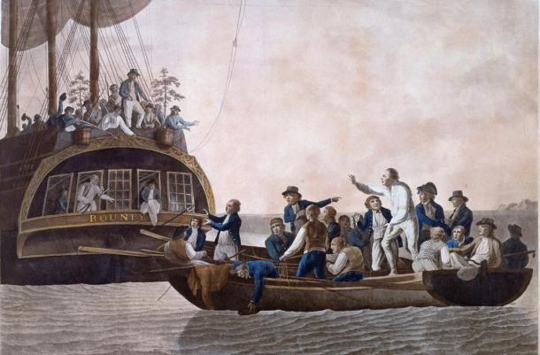 Fletcher Christian y los amotinados abandonan a la deriva al teniente William Bligh junto a otros 18 miembros de su tripulación; 1790, pintura de Robert Dodd (public domain)