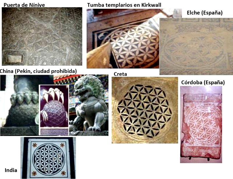 La flor de la vida en el arte a través del tiempo y de las distintas culturas. (Fotocomposición: Historia Enigmática)