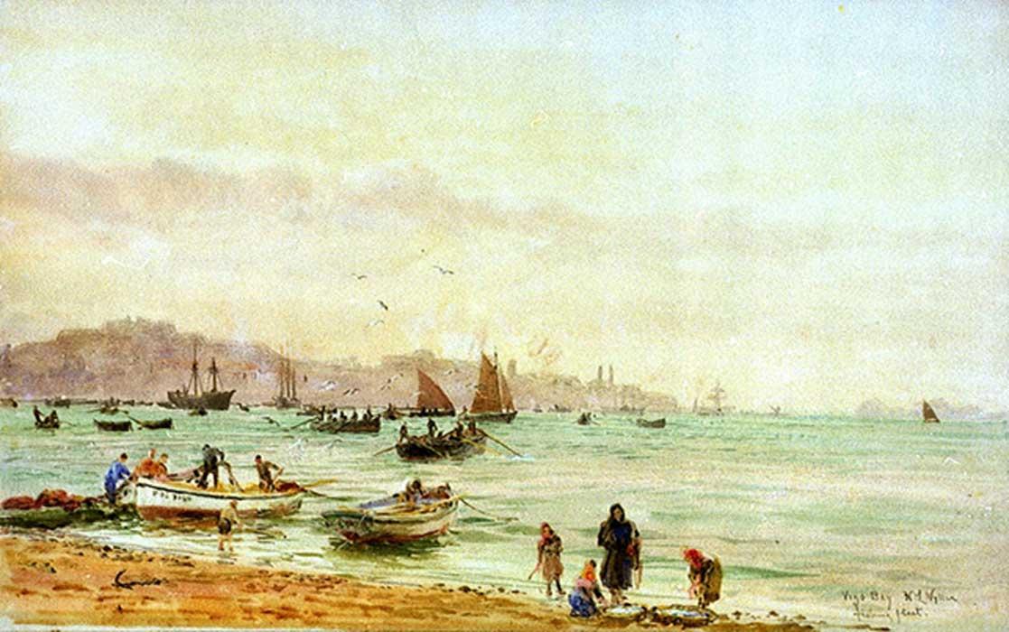 'Flota pesquera de la Bahía de Vigo', acuarela de William Lionel Wyllie. (Public Domain)